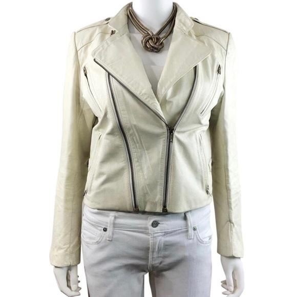 Wilsons Leather Jackets & Blazers - Wilsons Vintage Leather Motor Biker Ivory Jacket